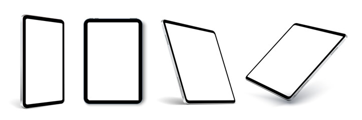 Fototapeta Tablet frame less blank screen, rotated position. Tablet from different angles. Mockup generic device set. UI, UX Template for infographics or presentation 3D realistic graphics tablet. obraz