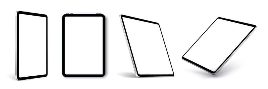 Tablet frame less blank screen, rotated position. Tablet from different angles. Mockup generic device set. UI, UX Template for infographics or presentation 3D realistic graphics tablet.
