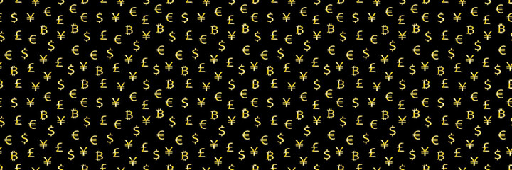horizontal gold currency symbols on black