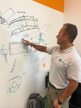CLS Wind CEO Kent Johnson develops an elevator-like system that can assemble wind turbines without using giant cranes, in Houston, Texas
