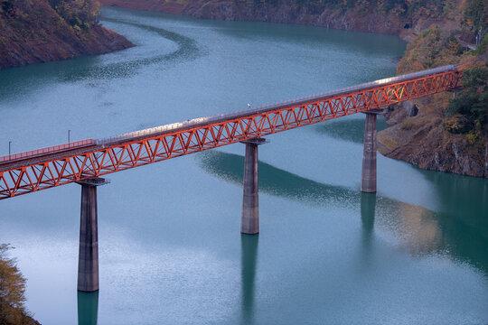 Railway bridge across the bended river in Shizuoka Japan