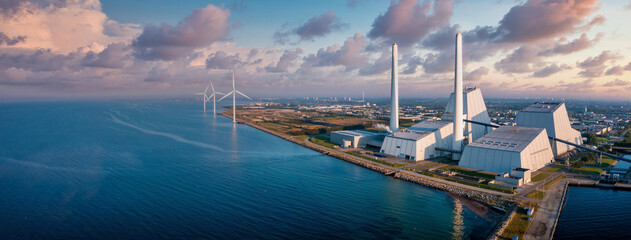 Aerial view of the Power station. One of the most beautiful and eco friendly power plants in the...