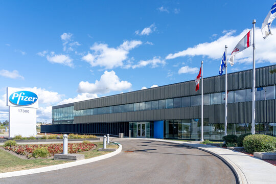 Kirkland, Quebec, Canada - September 3, 2021: Pfizer Canada head office in Kirkland, Quebec, Canada. Pfizer Inc. is an American multinational pharmaceutical and biotechnology corporation.