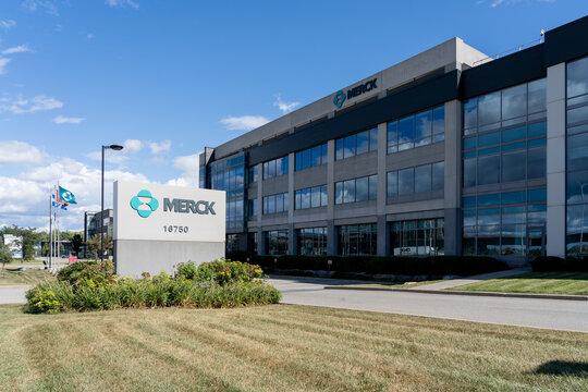 Kirkland, Quebec, Canada - September 3, 2021: Merck Canada head office in Kirkland, Quebec, Canada. Merck is an American multinational pharmaceutical company.