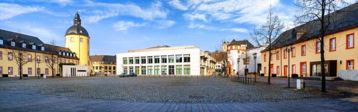 District town of Siegen, Lower Castle with Castle Tower and University Lecture Hall Building. Unteres Schloss mit Schlossturm und Hörsaalgebäude der Universität