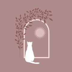 Fototapeta Samotny biały kot siedzący przy oknie, patrzący na niebo i słońce. Nostalgiczna magiczna scena. Kocia sylwetka w stylu boho. Urocza ilustracja wektorowa. obraz