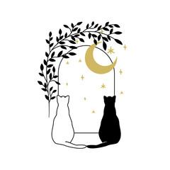 Fototapeta Dwa koty siedzące przy oknie, patrzące na niebo, księżyc i gwiazdy. Urocza magiczna scena. Kocia sylwetka z półksiężycem w stylu boho. Mistyczne elementy z motywem botanicznym. obraz