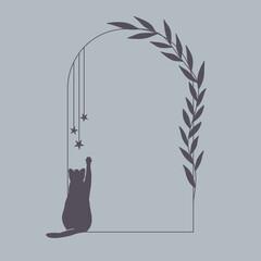 Fototapeta Minimalistyczna ramka w prostym stylu z sylwetką bawiącego się kota. Botaniczny wzór z listkami. Elementy do wykorzystania na zaproszenia ślubne, karty, vouchery, ulotki, tło dla social media. obraz