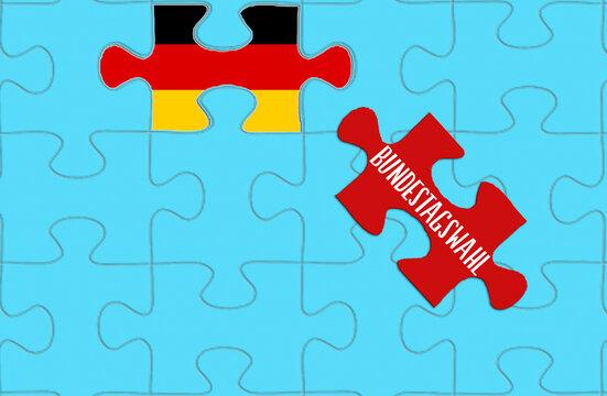 Puzzle, Flagge von Deutschland und die Bundestagswahl