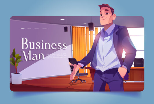 Businessman banner with leader in office conference room. Vector landing page with cartoon illustration of ceo man in suit in company boardroom with table and chairs