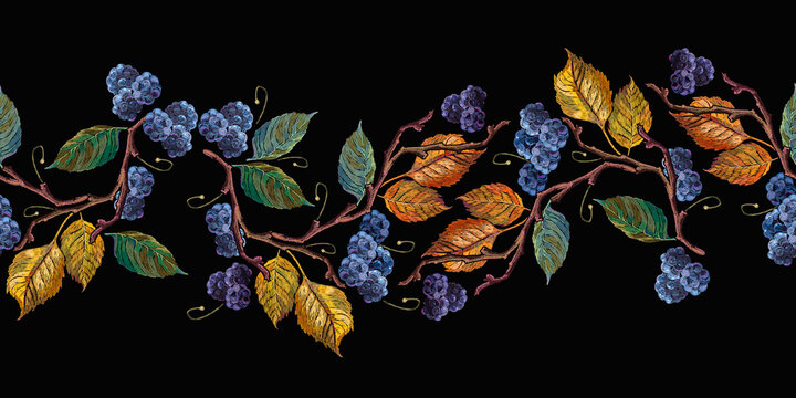 Blackberry, autumn leaves horizontal seamless pattern. Harvest concept. Embroidery fashion art, template for design of clothes, t-shirt