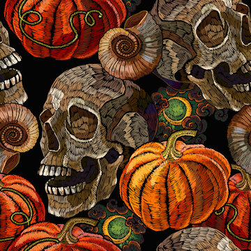 Embroidery orange pumpkin and skull seamless pattern. Gothic halloween art. Template for clothes, t-shirt design