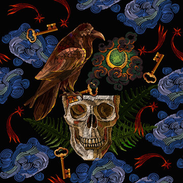 Alchemy seamless pattern. Black magic art. Gothic raven,occult moon, magic keys and skull. Dark night. Embroidery template for clothes, textile. Tarot card. Esoteric concept