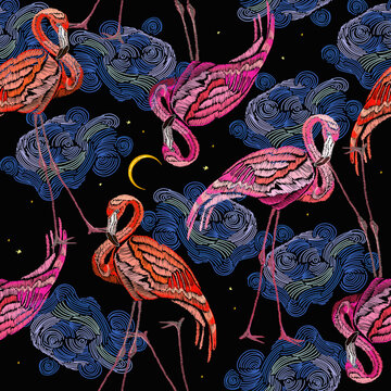 Pink flamingos, moon and night sky. Tropical birds. Summer seamless pattern. Fashion animals background. Template for design of clothes