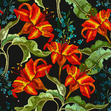 Classical embroidery red lilies seamless pattern, template fashionable clothes, t-shirt design