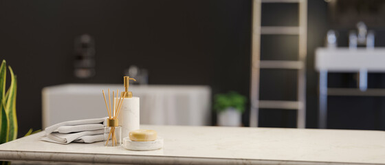 Obraz Marble tabletop with soap, ceramic shampoo bottle, towels and empty space over luxury black bathroom - fototapety do salonu