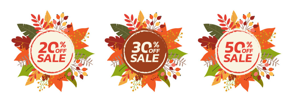 Autumn or Fall sale banner or badge set with leaf frame. 20, 30, 50 percent price off. Discount, promotion card design element with foliage border. Vector illustration.
