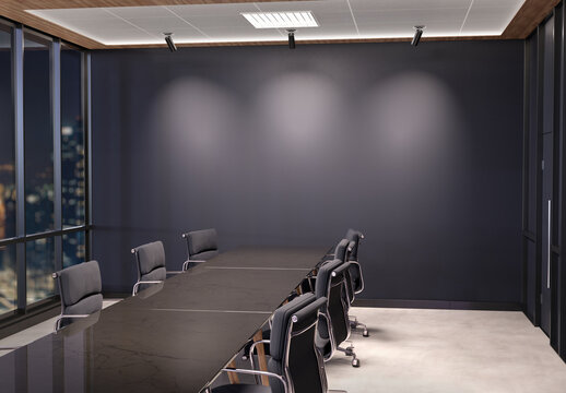 Blank wall Mockup in dark modern office with windows and spotlights. Empty company meeting room 3D rendering