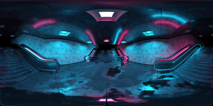 Hdri of realistic underground subway stationbBackground with wet floors. Futuristic metro interior with blue and pink glowing neon lights and escalators. 3D Rendering