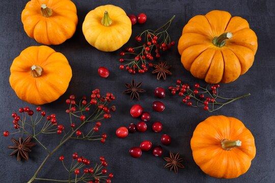 Pumpkins and cranberries.