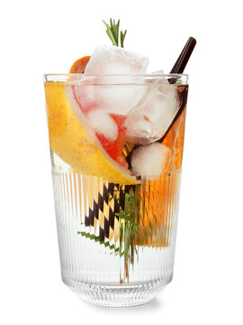 Glass of cold gin tonic with grapefruit slices on white background