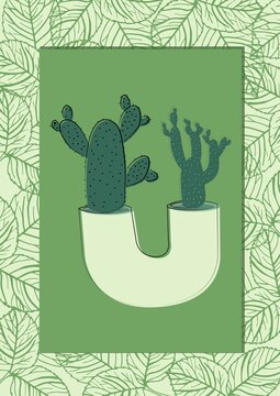 Cactus plant on green banner with copy space against leaves design pattern