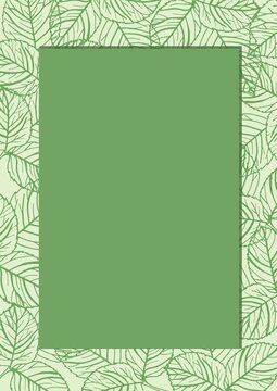 Digitally generated image of green banner with copy space against leaves design pattern