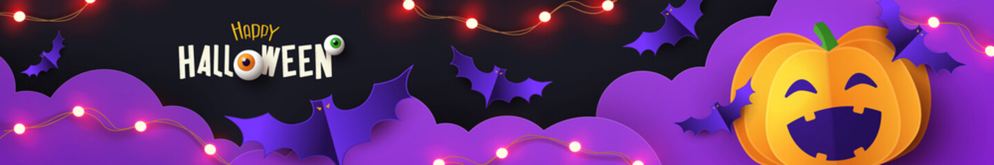 Fototapeta Halloween Promotion long horizontal banner with cutest pumpkin and bats in night clouds on violet black background. Paper cut style. Halloween website Sale banner or header, greeting poster template obraz