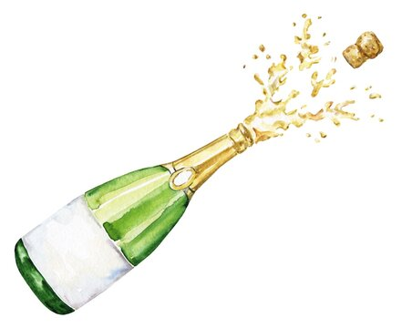 Watercolour bottle of champagne on white background. Watercolor food illustration.