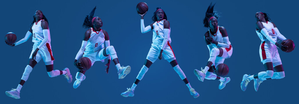 Collage of sportive african-american female basketball player in motion and action in neon light on blue background. Concept of professional sport