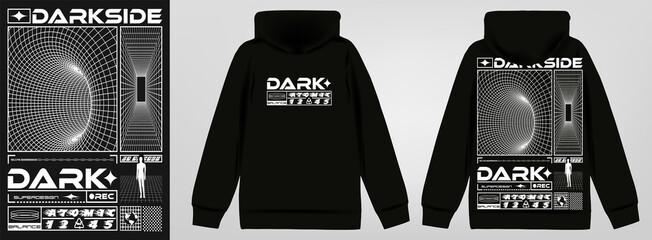 Fototapeta Abstract poster dark side. Stylish sweatshirt with a hood in Acid Graphic style, trendy streetwear, vector illustration obraz