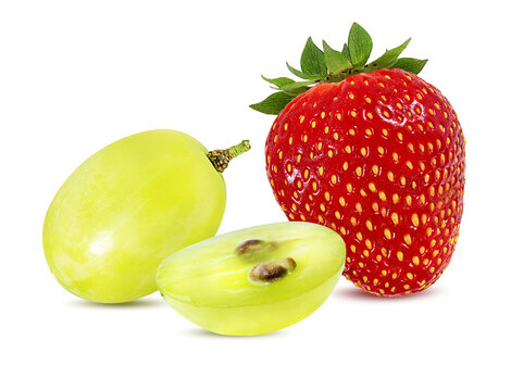 strawberry and grapes  isolated on white background