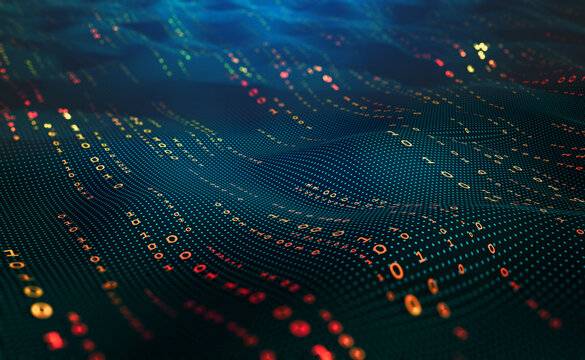 Waves of computer code. Binary code big data. Information field, binary code, data encoding, data flow, digital security. Internet technology 3d illustration
