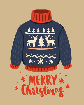 Ugly vector christmas sweater with deer pattern.