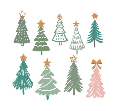 Christmas trees vector. Hand drawing winter fir tree. New year symbol