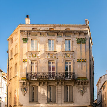 Avignon, typical house, colorful building in the historic center