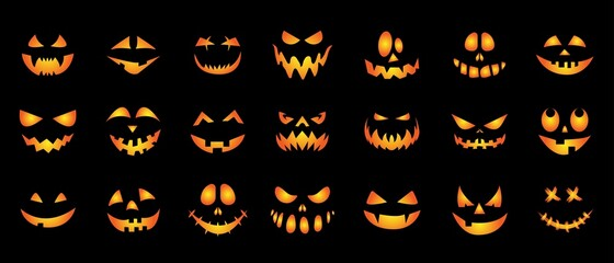 Fototapeta A set of creepy, scary emotions, emoticons for Halloween. Face design for festive pumpkins. Icons of frightening facial expressions. Symbols of the holiday. Vector illustration obraz