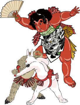 浮世絵 金太郎と猿と兎の相撲