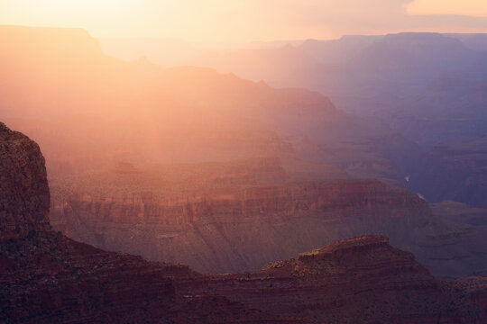 Sunset light in the Grand Canyon from the south rim