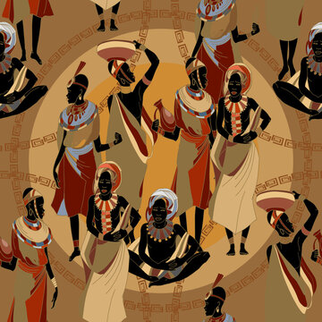 Beautiful black females. People of South Africa. Tradition and culture. African women in national clothes seamless pattern. Ethnic art