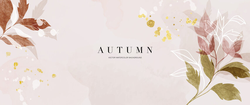 Autumn background design  with watercolor brush texture, Flower and botanical leaves watercolor hand drawing. Abstract art wallpaper design for wall arts, wedding and VIP invite card.  Vector EPS10