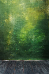 Obraz Dramatic  green painted textured canvas and muslin cloth studio backdrop with a wooden platform - fototapety do salonu