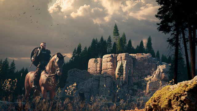 epic viking riding a horse with axe in hand in a grass field near a cliff rock and fir forest in beautiful sunlight with gorgeous clouds - concept art - rendering 3D