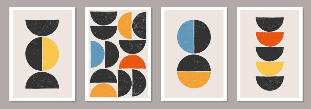 Set of minimal 20s geometric design posters, vector template