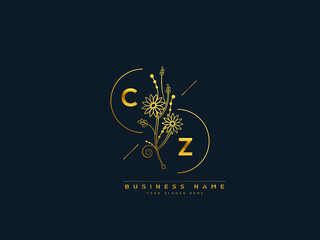 Fototapeta Luxury CZ logo, initial floral cz c z letter logo icon design for your brand or business obraz