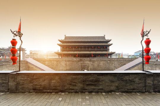 Yongning Gate Arrow Tower, Ming Dynasty City Wall, Xi'an, China.
