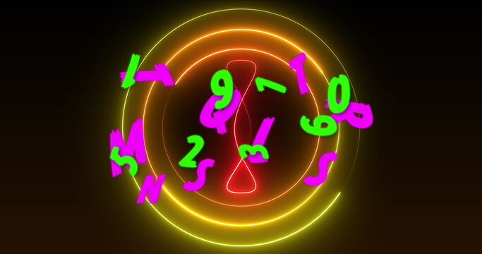 Image of green numbers and pink letters over yellow and red neon design