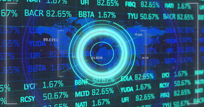 Stock market data processing over world map against neon round scanner on blue background