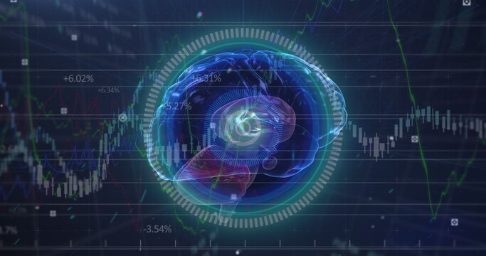 Human brain spinning over round neon scanner against stock market data processing on blue background