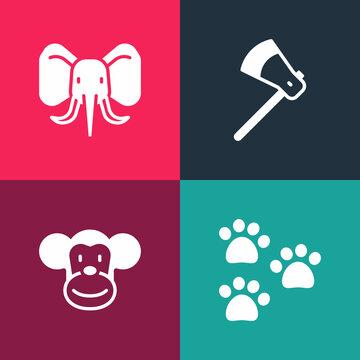 Set pop art Paw print, Monkey, Wooden axe and Elephant icon. Vector